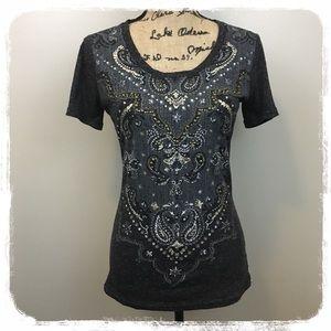 Miss Me Gray/Gold/Crystal Bling T-Shirt sz. M